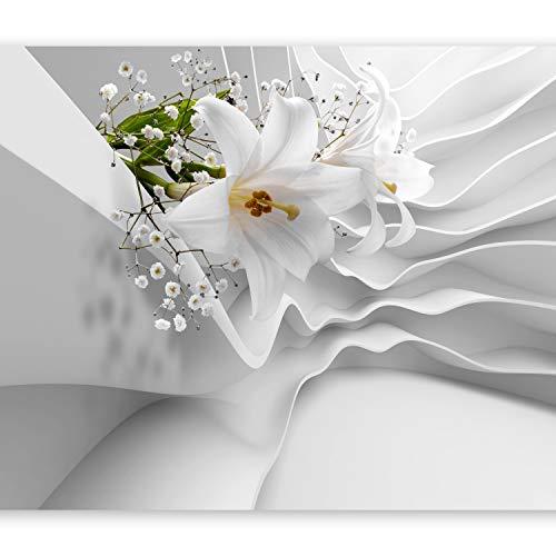 murando Papier peint intissé 350x256 cm Décoration Murale XXL Poster Tableaux Muraux Tapisserie Photo Trompe l'oeil Fleur Abstraction blanc lis b-C-0144-a-a