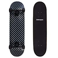 Retrospec Alameda Skateboard Complete with Abec-7 Bearings & Canadian Maple Deck, Black/Gray Checker