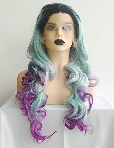 Peluca de pelo sintético con raíces oscuras, color gris pastel, azul oscuro, morado, sirena larga...