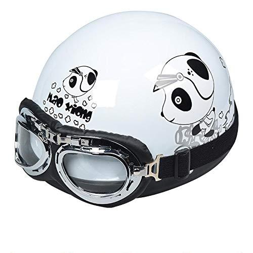 Berrd Motorradteile Fashion Unisex E-Bike Moto Roller Helm für Männer Frauen Sommerhelme mit Hochwertiger Skibrille Halber Helm-Bär, 54-64cm -