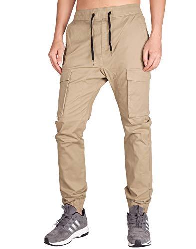 ITALY MORN Hombre Jogger Cargo Casual Pantalón Slim Fit Jogging Algodón (XS, Caqui)
