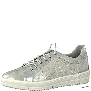 Tamaris Damen Slip-On Sneaker 23710-21,Frauen Skater,Sportschuh,Slipper,Schlüpfschuh,Low-Top,Blockabsatz 3cm,Silver,EU 37