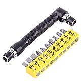 """2 Set Mini 1/4"""" Ratschen Schlüssel 90 Grad L-förmiger Doppelkopf Inbusschlüssel mit 10pcs Flach Philips Schraubendreher Bits"""