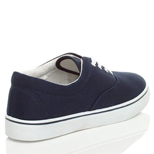 Hommes talon bas plat lacets désinvolte plimsolls chaussures de tennis pointure Bleu foncé marine