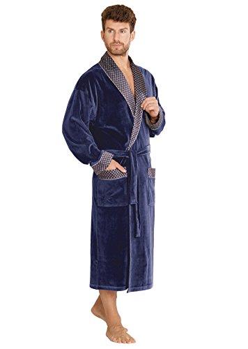 FOREX Lingerie edler und hochwertiger Baumwoll-Bademantel Herren-Mantel im tollen Design (M, Jeans) - Denim-kimono