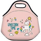 Fringoo® - Bolsa de almuerzo para niños, enfriador de neopreno térmico aislado, bolsa con cremallera para alimentos, para escuela, viaje, días de campo, guardería., Unicorn Time