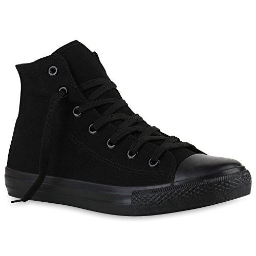 stiefelparadies Herren Sneakers Sneaker High Denim Turn Camouflage Stoff Schnürer Schuhe 139901 Schwarz All 44 Flandell