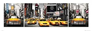 New York Taxi Yellow Cab impression Photo Triptyque 95 x 33 cm