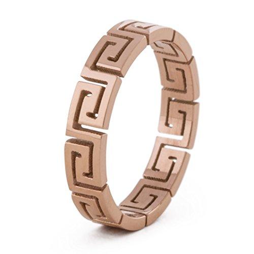 Akitsune Argius Ring | Griechisch Ornament Design-Ring Frauen Herren Edelstahl Filigran Mäander - Rosegold - US 6 (Griechischen Für Frauen)