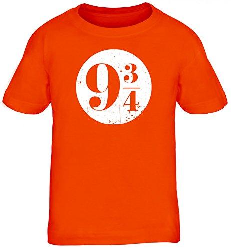 Fanartikel Fan Kult Film Kinder T-Shirt Rundhals Mädchen Jungen Kreis Harry 9 3/4, Größe: 134/146,Orange