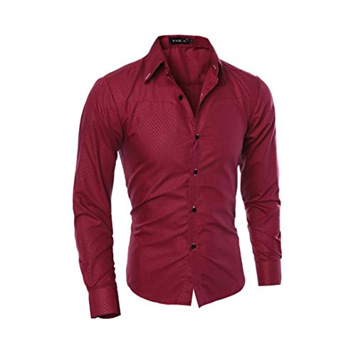 er Casual Shirt Fashion Langarm Plaid Mens Wedding Dress Shirts Slim Männlichen Tuxedo Shirt Rot XXXL ()