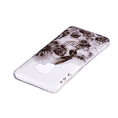 Coque Galaxy S9,Coque Galaxy S9 Étui Silicone Transparente,Surakey [Ultra Mince] Souple TPU Housse Téléphone Couverture Protection Crystal Clair Coque pour Samsung Galaxy S9 - Motif Mandala Tribal Henné Fleur Papillon Imprimé Souple Housse Étui Protection TPU Bumper Silicone Gel Ultra Mince Doux Gel Skin Case Cover Coque Couverture Etui pour Samsung Galaxy S9 (Crâne)