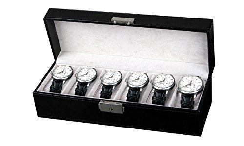 Amzdeal scatola porta orologi custodia per 6 orologi