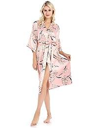 Mujeres Kimono Batas Cardigan Pijamas Impresión De Dama De Honor Seda Ropa De Dormir Ropa De