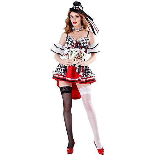 JXJ Königin des Roten Herzens Kostüm - Schwarz-Weiß Gestreiften Kartenspiel Poker Damen Märchen Alice Wunderland Kleid Für Party Und - Charmante Alice Kostüm