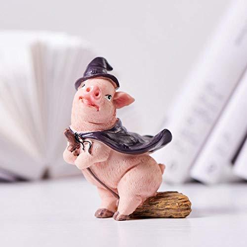 WgYoo Skulpturen Dekoartikel Harz Niedlichen Schwein Figur Harz Handwerk Tierkreis Geschenk Original Niedlichen Lieblings Hause Desktop Ornament Garten Dekoration Miniatur Garten-4