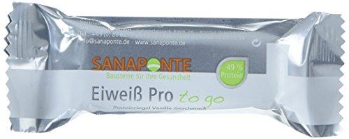 """Sanaponte Eiweiß Pro""""to go"""" Riegel 49% Protein (24x 35g Riegel) Low Carb Protein Riegel Vanille Geschmack - Protein Bar - nur 129 kcal pro Riegel"""