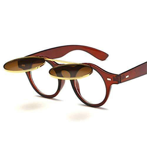 DAIYSNAFDN Vintage Runde Punk Sonnenbrille Männer Runde Sonnenbrille Designer Frauen Steampunk Sonnenbrille C4