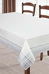 150x280 creme silber Tischdecke Tischtuch ornamente Form glänzendes Muster pflegeleicht praktisch elegant exklusiv Silver2
