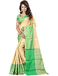 FAB BRAND Self Design Cotton Silk Green Color Saree For Women With Blouse Piece