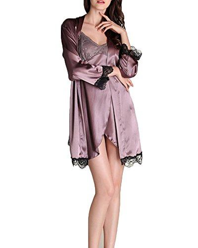 Femme Ensemble 2 Pièces Kimono Robe de Chambre avec Ceinture Chemise de Nuit en Satin Nuisette Lingerie Imitant Pyjama Violet