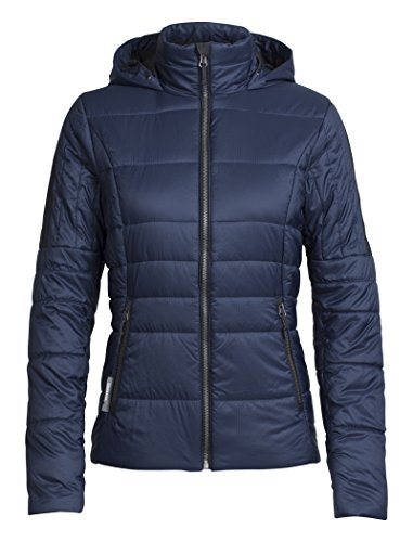 Icebreaker Damen Stratus X Hooded Jacket Jacke, Midnight Navy/Jet Hthr, L