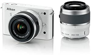 Nikon 1 J1 Compact System Camera with 10-30mm and 30-110mm Double Lens Kit - White (10.1MP) 3 inch LCD