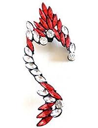 Réf102 BO.788 - Boucle D'oreille Droite Femme - Ear Cuff Rock Strass Blancs et Rouges - Métal Noir
