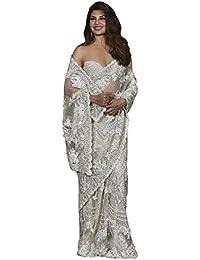 Swara Fashion Women's Nylon Net Multi Work Saree(SFPBT-192_White)