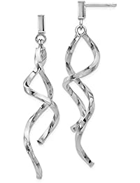 14ct White Gold Post Earrings Polished Twisted Post Dangle Earrings