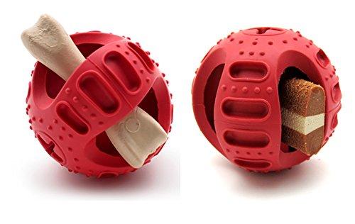 Dog Chew Ball, Katze Hundefutter-Maschine Interaktive intelligente Verarbeitung Ball Hund Katzen Biss Spielzeug Biss-resistent Große kleine Hund Snack-Support Ball 2 Größe ( Color : Red , Size : S ) (Der Ausübung Die Maschinen)