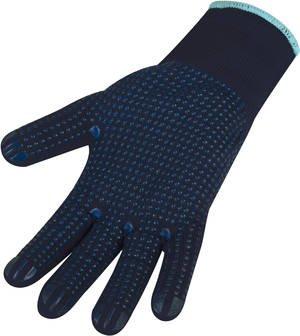 Maglia fine-Guanti, poliestere, blu scuro con punto noppung, 1paio di (versch. Misure a Scelta)