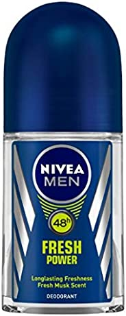 NIVEA Men Deodorant Roll On, Fresh Power, 48h Long lasting Freshness with Fresh Musk Scent, 50 ml