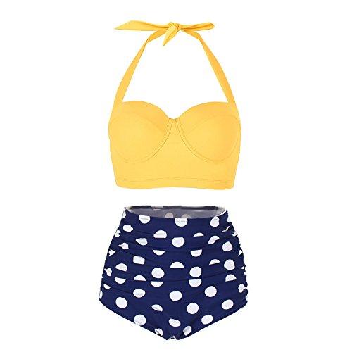 Yooeen Damen Hoher Taille Badeanzug 50er Retro Polka-Punkt Badeanzüge Bademode Zweiteiler Bikini Set Schwimmanzug -