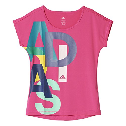 adidas Mädchen T-shirt YG W F LOGO TEE, Rosa/Blau/Weiβ, 140, 4055343529288 (Mädchen-tee Blaue)