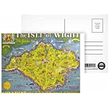 Isle of Wight - The garden Isle island map poster - Sunshine scenery and sport - Postcard (Pack of 8) - Highest Quality