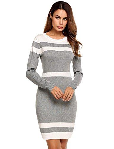 Caeasar Langarm-Kleid Bleistift High-Waist Knielang Kontrastfarbe Pullover Paket Hip Strickware beiläufige unterkleider , farbe - Grau , Gr. XXL