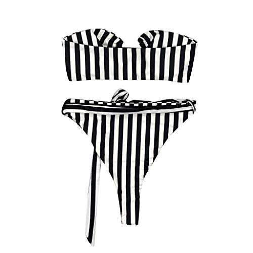 Bfmyxgs Mode Frauen Mädchen Sexy Beachwear Stilvolle Streifen Push-Up Gepolsterter BH Charming Bikini Set Badeanzug Schöne Tankini Sets Bademode Bikini Monokini Sets
