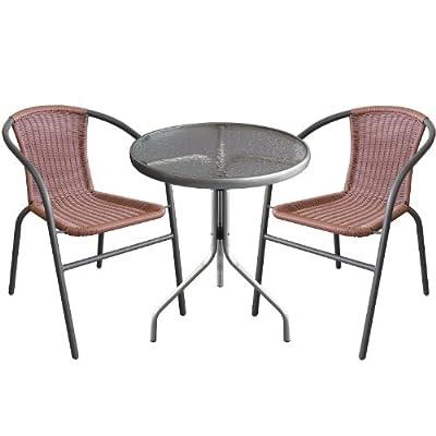 3tlg. Bistro-Set Sitzgruppe Balkonmöbel Sitzgarnitur Metall Glastisch Bistrotisch Ø60cm Silber + Metall Stapelstühle Poly-Rattan Anthrazit/Braun