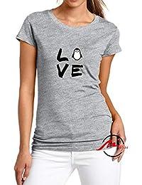 586bc096e92ef ZMvise Love Penguin Cartoon Fashion Cotton Tee Unisex Adult Youth Tshirt  Black