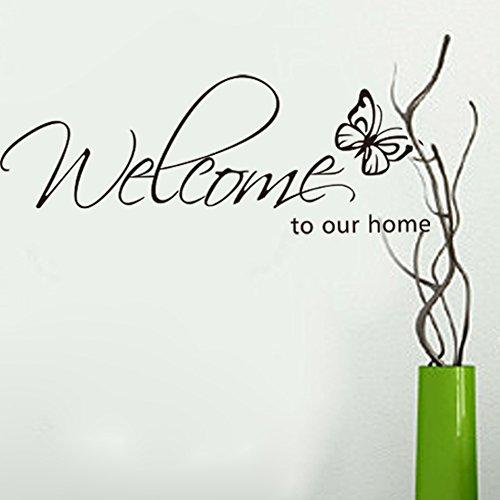 Benvenuto alle nostre parole Home Inglese neri adesivi murali farfalla fai da te per Living Room Porta TV Sfondo Adesivi rimovibili Decor Stickers