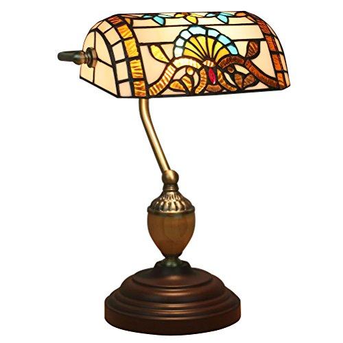 FABAKIRA Tiffany Nachttischlampe Kreative Stil Retro Tischlampe E27 Lampen Farbe Glas Bar Restaurant Zimmer