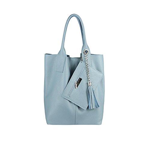 OBC DAMEN LEDER TASCHE Shopper Hobo Bag Schultertasche Umhängetasche Handtasche Henkeltasche Beuteltasche (Hellblau) (Echt Gepäck Leder Tasche)
