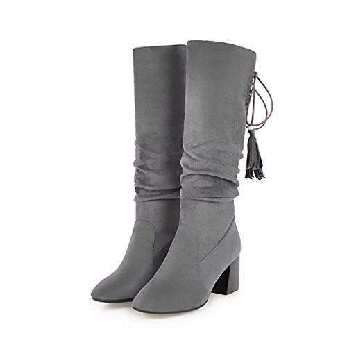 wetkiss Fashion Women mid Calf Boots high Thick Heels Autumn Winter Boots Lady Shoes