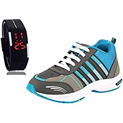 Chevit Men's COMBO Blue Running Shoes With LED Watch Bracelet W1+413-10M