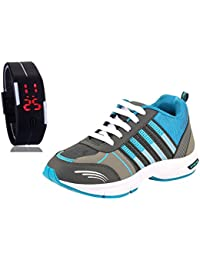 Chevit Men's Combo Blue Running Shoes with LED Watch Bracelet