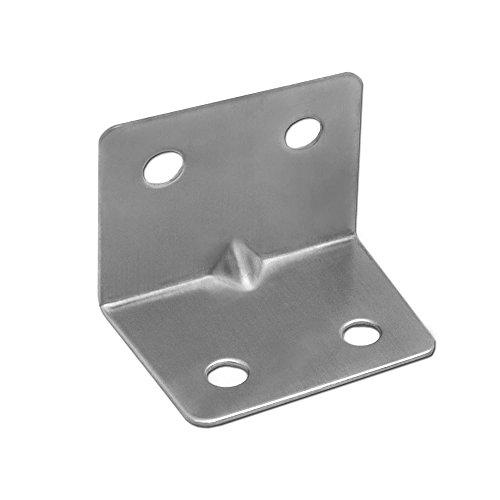Preisvergleich Produktbild Set Winkel-Verbinder Lochwinkel Edelstahl Regalträger Platte Balkenwinkel Lochblech Handwerker Holz-Verbindung Metall,  Modell:6 Stück - 34mm x 28mm