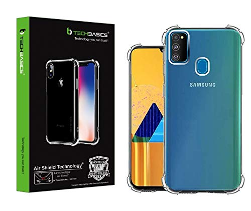 TechBasics Shockproof Bumper Back Cover Case for Samsung Galaxy M30s -Transparent(Military Grade Drop Tested with AirShield Technology)