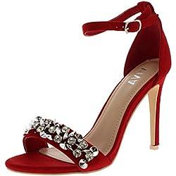 Viva Mujer Diamante Correa Delantera Correa de Tobillo Fiesta Sandalias Tacones Altos Zapatos - Rojo KL0258C 6UK/39