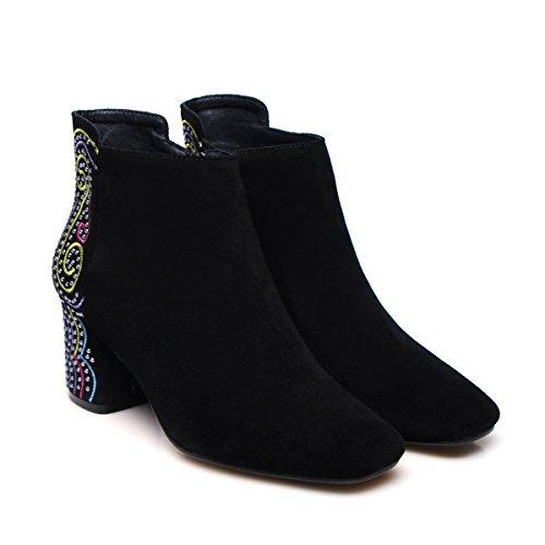 QIN&X Donna blocco quadrato Testa corta caviglia stivali scarpe black warm